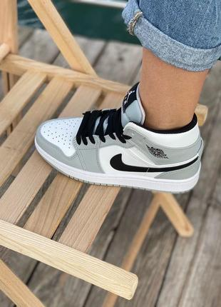Nike air jordan gray кроссовки найк женские джордан обувь кеды8 фото