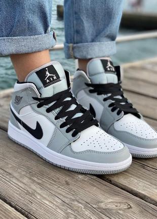 Nike air jordan gray кроссовки найк женские джордан обувь кеды10 фото