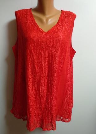 Красивая кружевная блуза с шифоновыми клиньями на хлопковой подкладке 56-58 размера