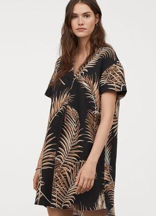 Льняное платье в принт h&m пляжное платье