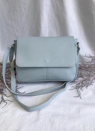 Женская сумка натуральная кожа через плечо кроссбоди голубая genuine leather италия на длинных ручках небесно голубой синий серый vera pelle