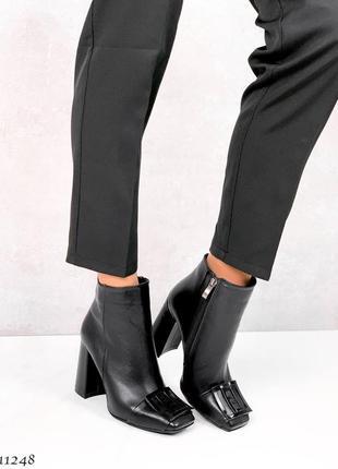 Ботинки боты ботиночки ботильоны натуральная кожа на среднем каблуке черные с квадратным носком демисезонные