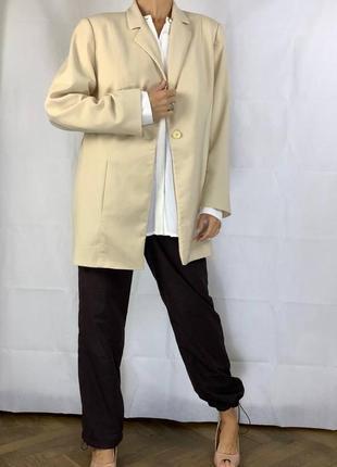 Айвори пиджак оверсайз жакет обьемный куртка3 фото