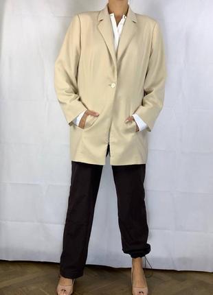 Айвори пиджак оверсайз жакет обьемный куртка6 фото