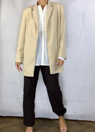 Айвори пиджак оверсайз жакет обьемный куртка2 фото
