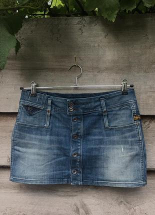 Джинсовая мини юбка бедровка на пуговицах