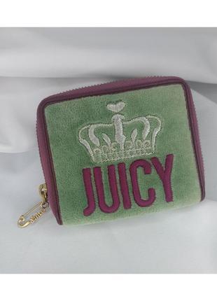 Кошелек пушистый плюшевый зеленый на молнии джуси кутюр juicy couture princess