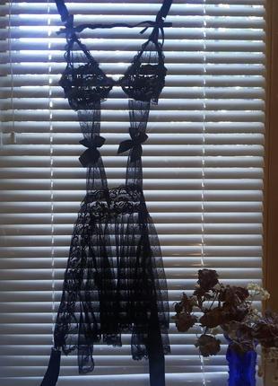 Винтажный чёрный кружевной пеньюар с бантиками лолита