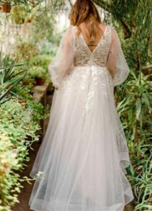 Свадебное платье бохо рустик объемными рукавами