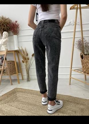 Джинсы мом mango, графитовые с высокой посадкой, джинси мом6 фото