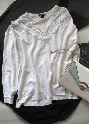 Белый коттоновый свободный джемпер с бахромой h&m