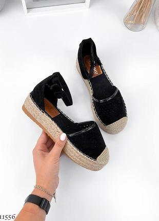Босоножки боссоножки черные сандалии эко замш на высокой подошве трендовые с плетением