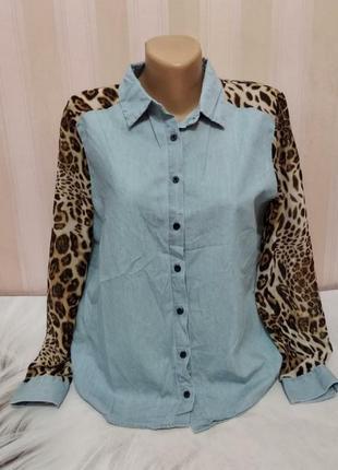 Трендовая джинсовая рубашка с шифоновыми рукавами / леопардовый принт 71