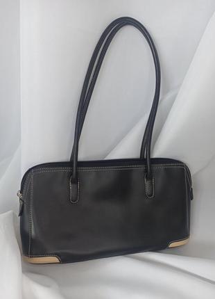 Сумка сумочка маленькая черная багет с длинными ручками кожанная