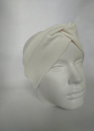 Фактурная кремовая повязка на голову чалма увет крем на ог 62-64