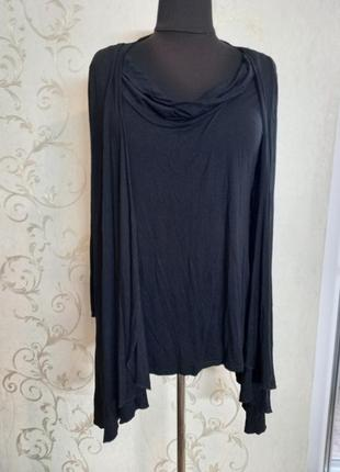 Чудесная лаконичная комфортная кофта женская кофточка черная батальная