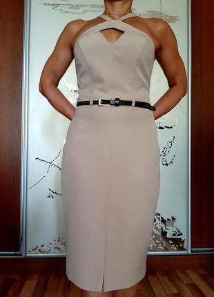 Новое красивое бежевое платье миди