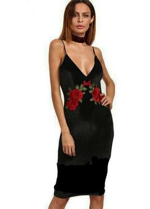 Шикарное бархатное платье по фигуре с вышивкой/плаття/сукня
