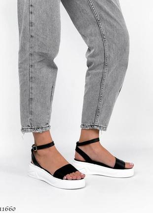 Босоножки боссоножки сандалии натуральная кожа трендовые на высокой подошве чёрные5 фото