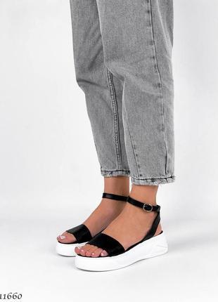 Босоножки боссоножки сандалии натуральная кожа трендовые на высокой подошве чёрные6 фото
