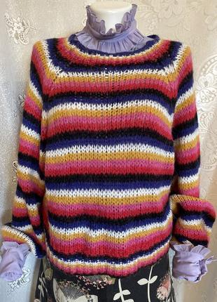 Яркий в цветную полоску свитер пуловер кофточка хиппи бохо италия