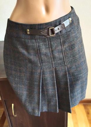 Полушерстяная юбка трапеция с складками из шерсти и лиоцела