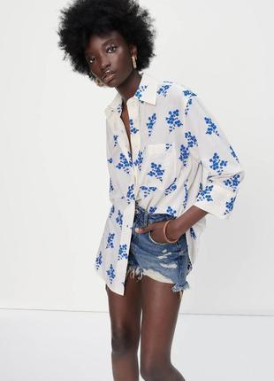 Рубашка zara с вышивкой и карманом
