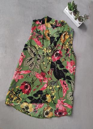 Красивая зелёная блуза без рукавов цветочный принт next
