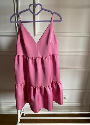 Платье розовое атласное на бретелях