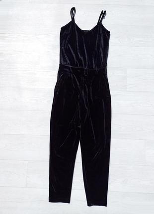 Велюровый чёрный длинный комбинезон only с карманами