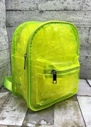 Силиконовый рюкзак прозрачный, салатовый неон, мини, міні, силіконовий, прозорий, салатовий ранець