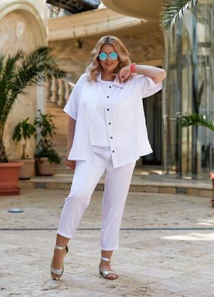 Костюм двойка рубашка и брюки штапель лён,цвет: белый, фисташка, небесный, чёрный, корица.