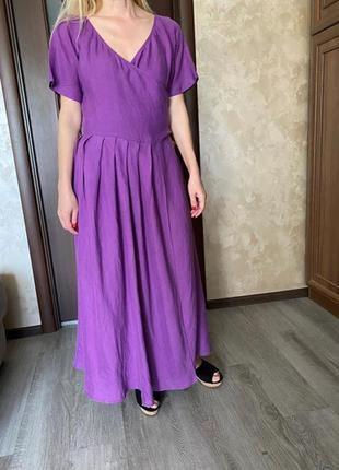 Италия винтажное  платье миди макси  на запах лен платье халат