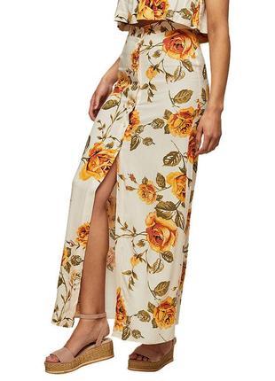 Юбка макси | юбка с разрезом | летняя юбка вискоза | цветочная юбка | юбка в цветы