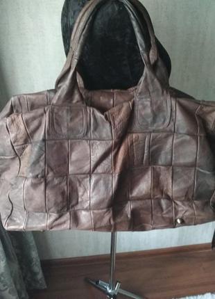 Шикарная кожаная багажная сумка винтаж большая