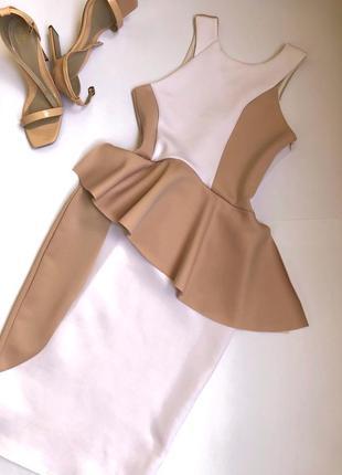 Нюдовое платье миди, нюдова сукня, бежева сукня міді