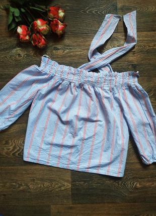 Хлопковый топ короткая блуза оверсайз