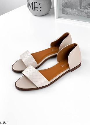 Босоножки боссоножки сандалии туфли шлепанцы бежевые эко кожа рептилия