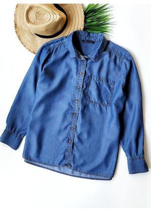 Стильная джинсовая рубашка свободного кроя marks&spencer
