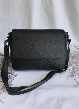 Кожаная натуральная сумка женская на длинном ремешке через плечо кроссбоди genuine leather италия черная фурнитура золото смоль