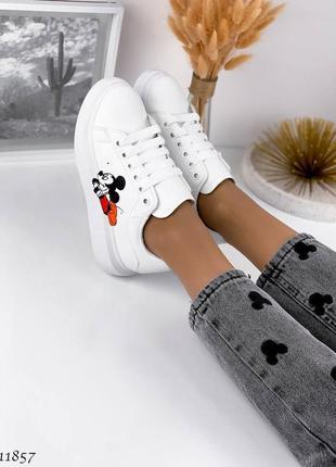 Кеды кроссовки белые эко кожа на низкой подошве