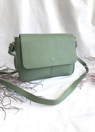 Мятная женская сумка натуральная кожа на длинном ремешке через плечо кроссбоди зелёнаяgenuine leather италия длинные ручки хаки весенний