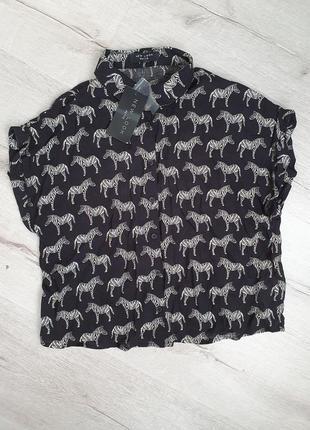 Укороченная рубашка блузка с коротким рукавом new look