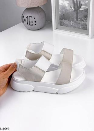 Босоножки боссоножки сандалии бежевые белые натуральная кожа