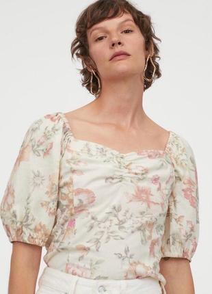 Льняной топ в цветочный принт в цветы блузка лен льон