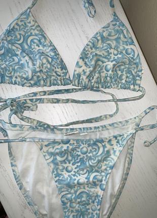 Роздільний купальник на завязках голубий бікіні swimsuit s-m купальний топ бра