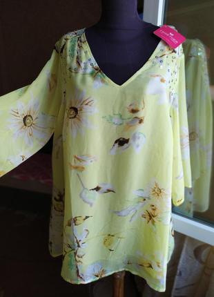 Ярко лимонная женская туника большой размер батал женская желтая туника.
