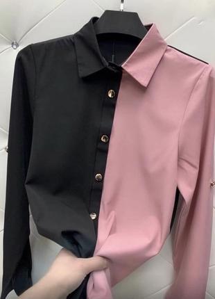 Стильная блузка на пуговицах, двухцветная,цвета-чёрный+беж,чёрный+белый,чёрный+розовый