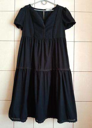 Черное ярусное платье миди из 100% хлопка