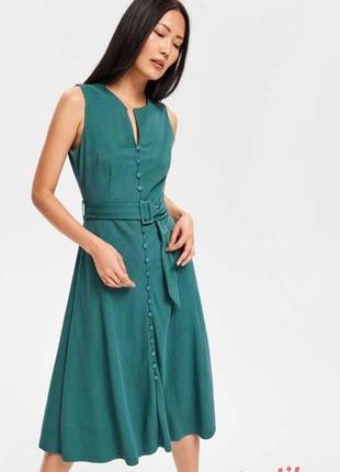 Нереальное платье миди цвета морской волны стиль винтаж ретро